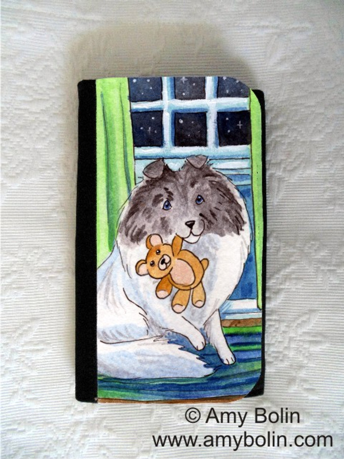 LARGE ORGANIZER WALLET · BEDTIME BUDDIES · COLOR HEADED WHITE SHELTIE · AMY BOLIN