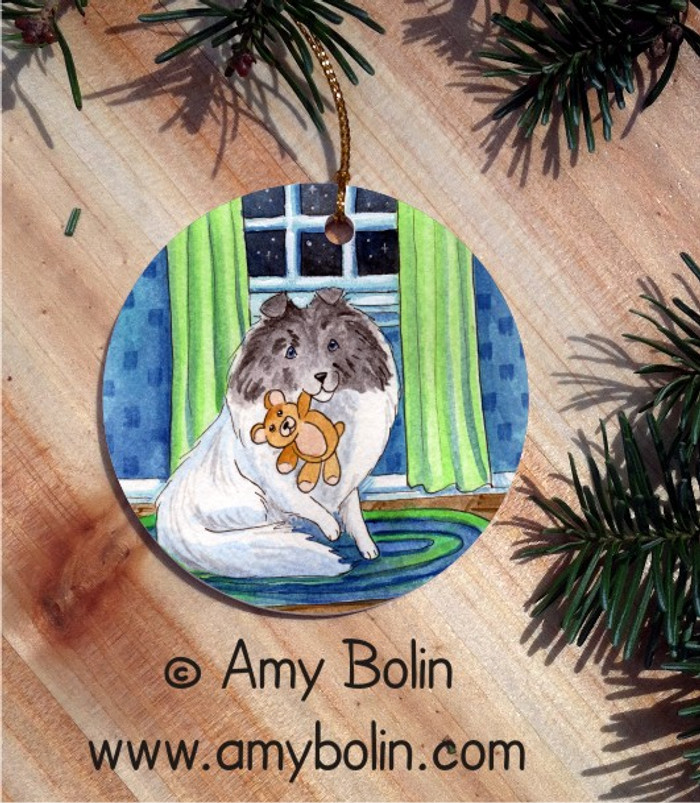 CERAMIC ORNAMENT · BEDTIME BUDDIES · COLOR HEADED WHITE SHELTIE · AMY BOLIN