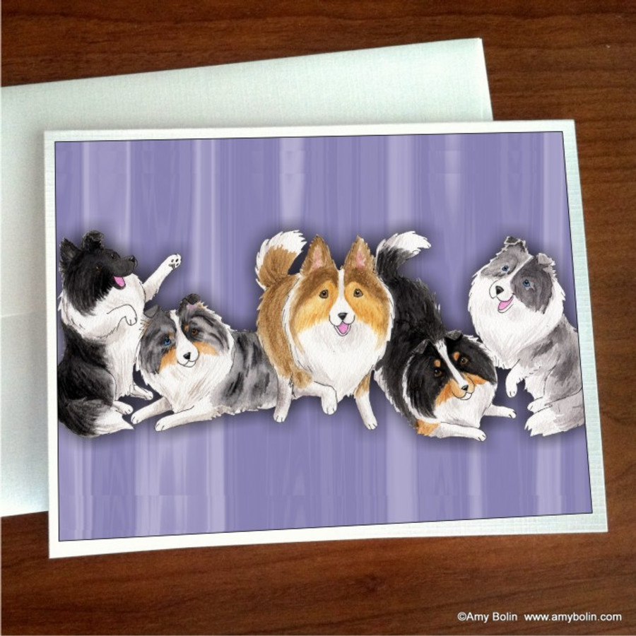 NOTE CARDS · SHADES OF SHELTIES (purple) · BI BLACK, BI BLUE, BLUE MERLE, SABLE, TRI COLOR SHELTIE · AMY BOLIN