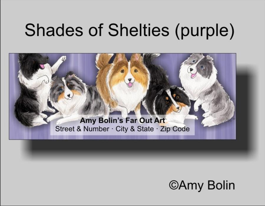 ADDRESS LABELS · SHADES OF SHELTIES · BI BLACK, BI BLUE, BLUE MERLE, SABLE, TRI COLOR SHELTIE · AMY BOLIN