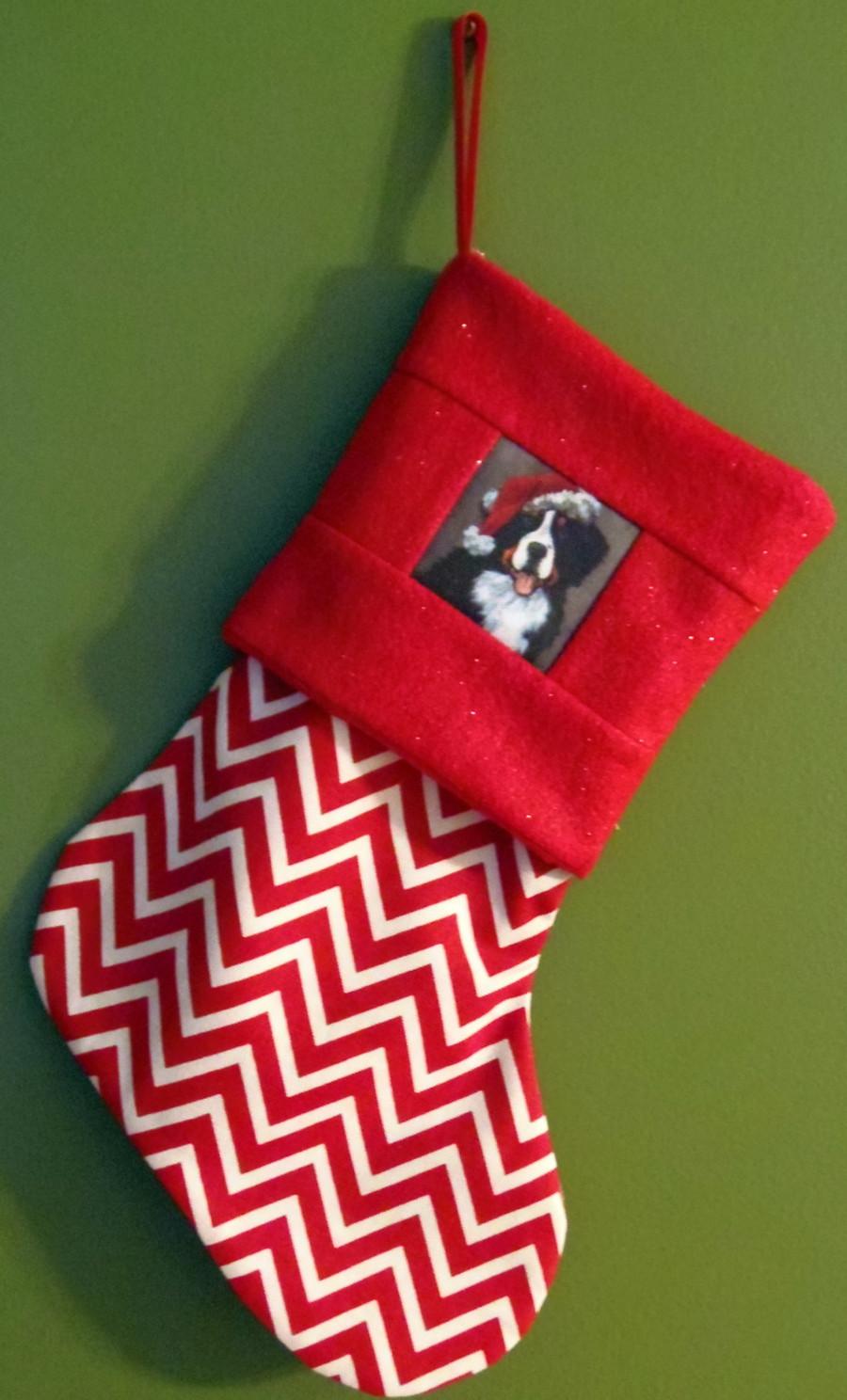 "Handmade Stocking     ""Merlin with Santa Hat""   Bernese Mountain Dog    By  Dawn Johnson"
