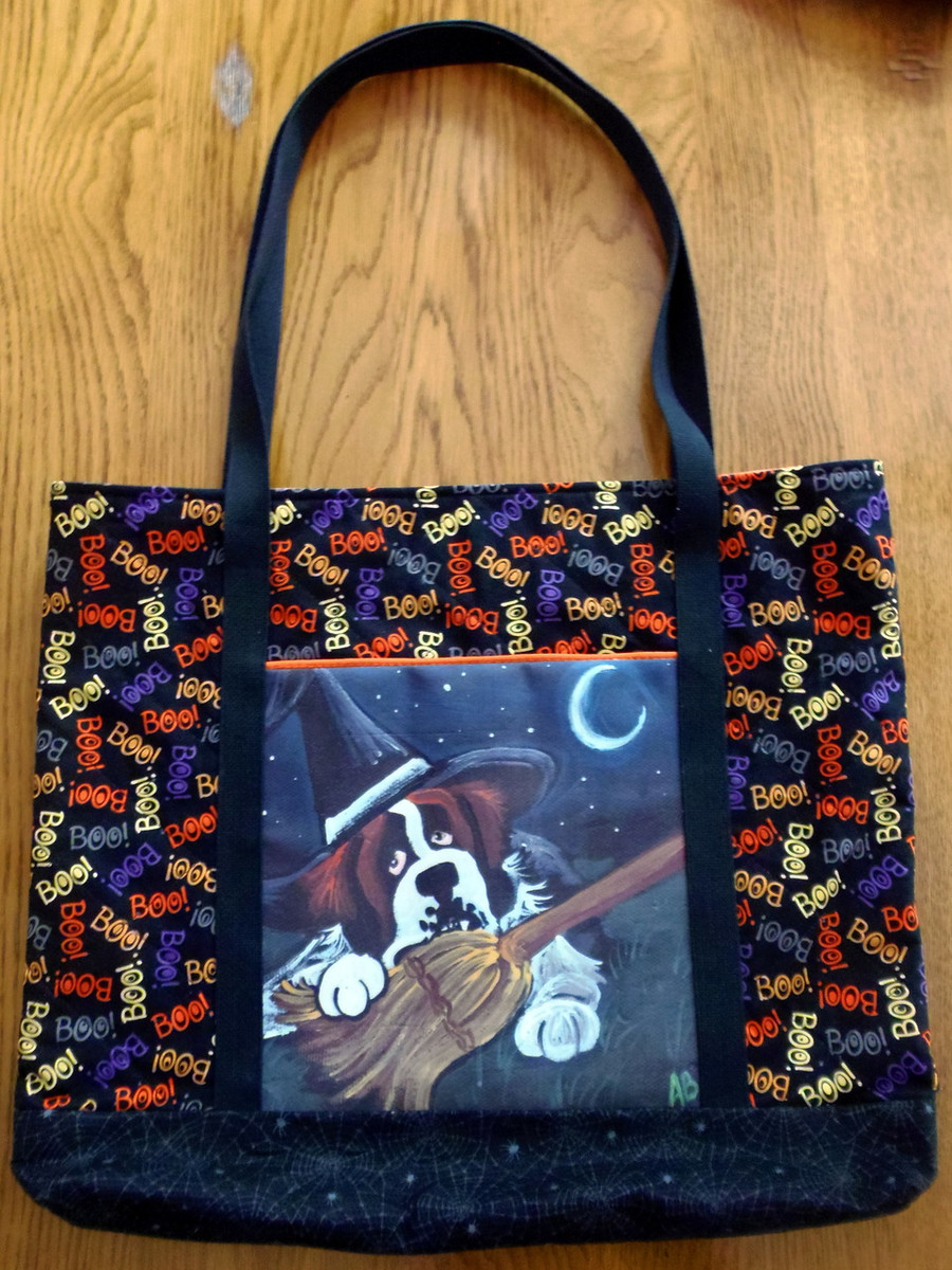 "Handmade quilted Purse/Tote      ""Not to Wicked Witch""      Saint Bernard        By Dawn Johnson"
