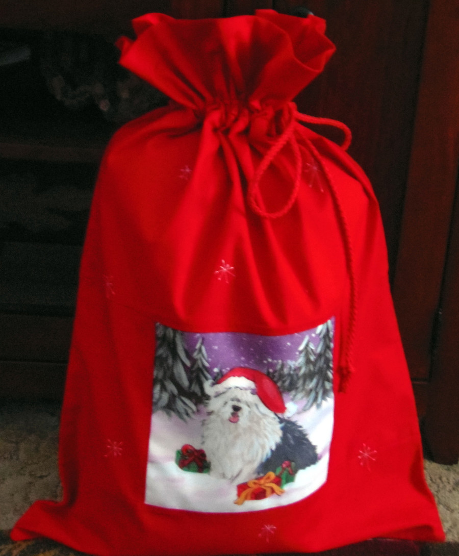 "Handmade Holiday Gift Bag             ""Merry Christmas""    Old English Sheepdog    y Dawn Johnson"