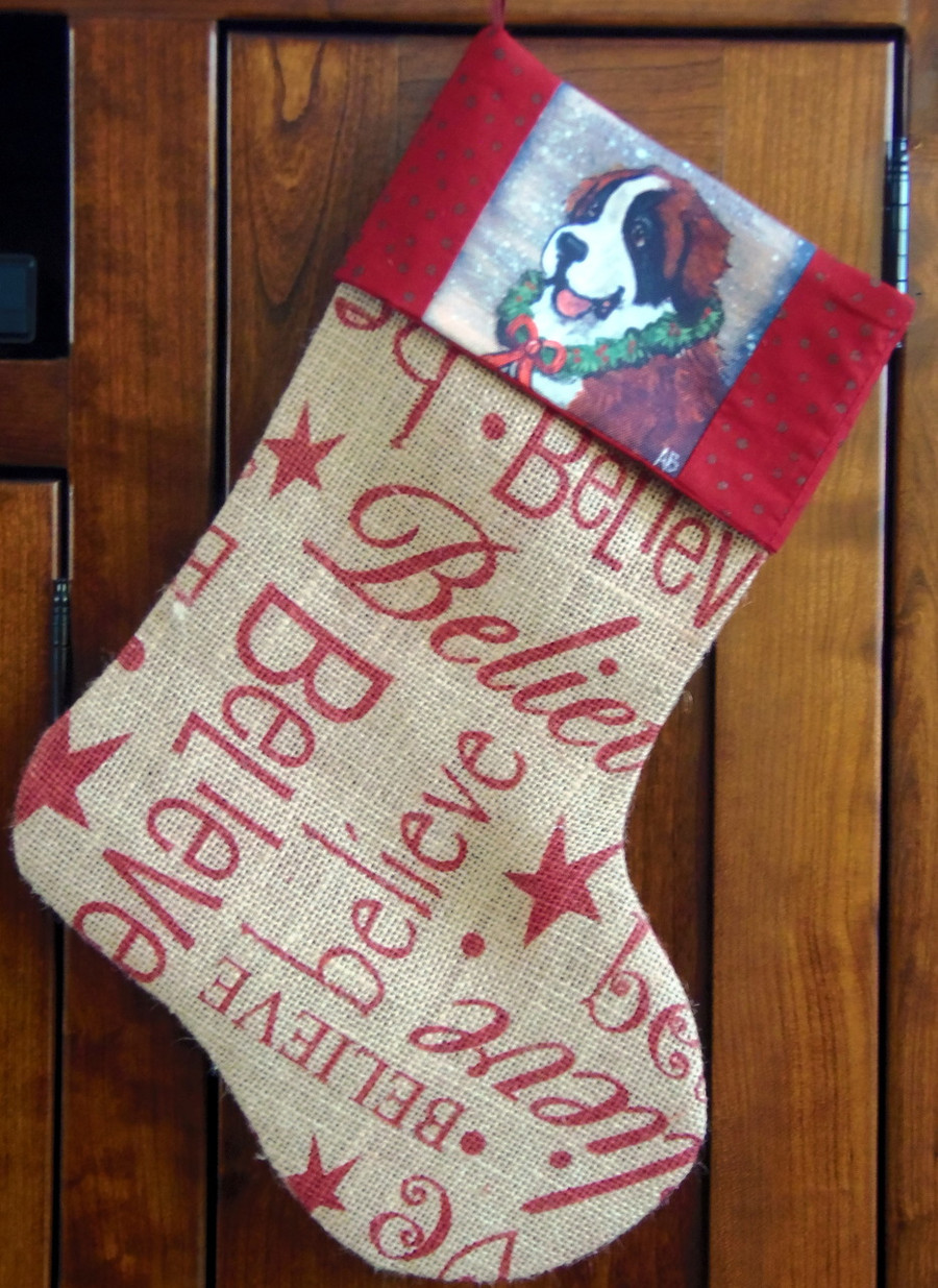 "Handmade Stocking     ""Christmas Traditions""         Saint Bernard   By Dawn Johnson"