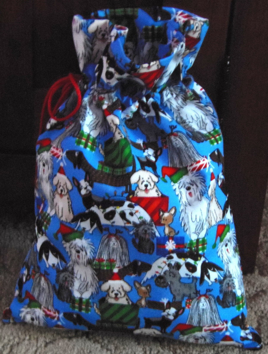 "Small  ""13"" by 9 1/2""    Handmade Gift Bag          ""Shaggy Claws""     Old English Sheepdog   By Dawn Johnson"
