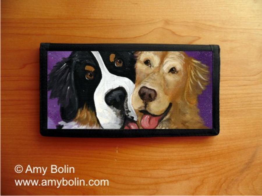 CHECKBOOK COVER · BE MINE · BERNESE MOUNTAIN DOG & GOLDEN RETRIEVER · AMY BOLIN