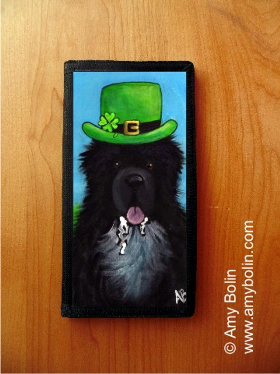 CHECKBOOK COVER · A BIG, WET IRISH KISS · IRISH SPOTTED NEWFOUNDLAND · AMY BOLIN