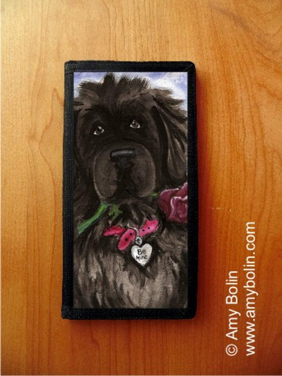 CHECKBOOK COVER · BE MINE · BLACK NEWFOUNDLAND · AMY BOLIN