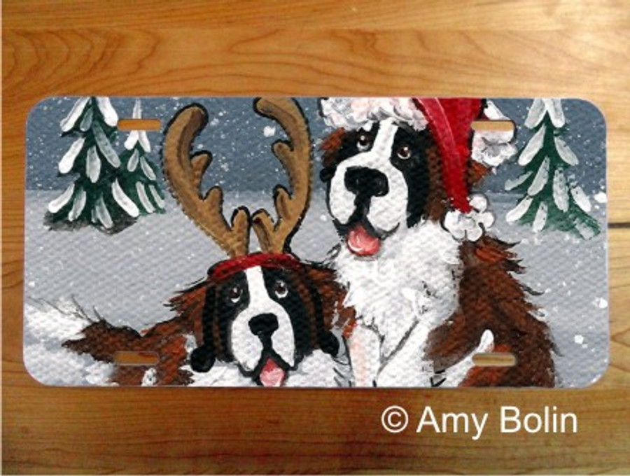LICENSE PLATE · CHRISTMAS BUDDIES ·  SAINT BERNARD · AMY BOLIN