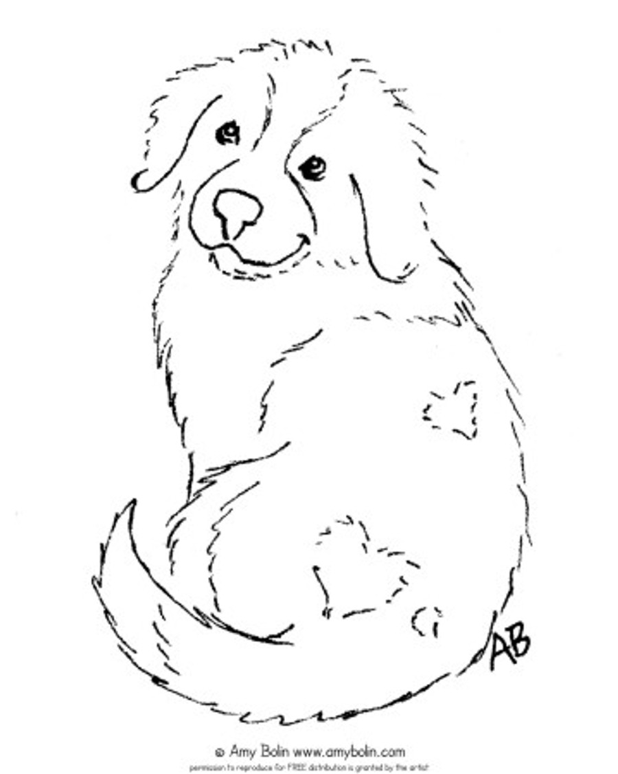 "FREE COLORING SHEET DOWNLOAD · ""Puppy Love"" · SAINT BERNARD · AMY BOLIN"
