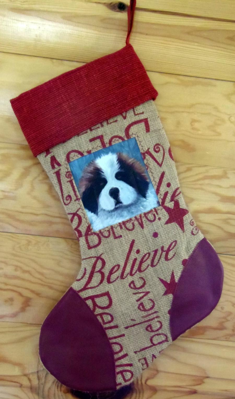"""Puppy Eyes""   Saint Bernard   Christmas Stocking By Dawn Johnson"