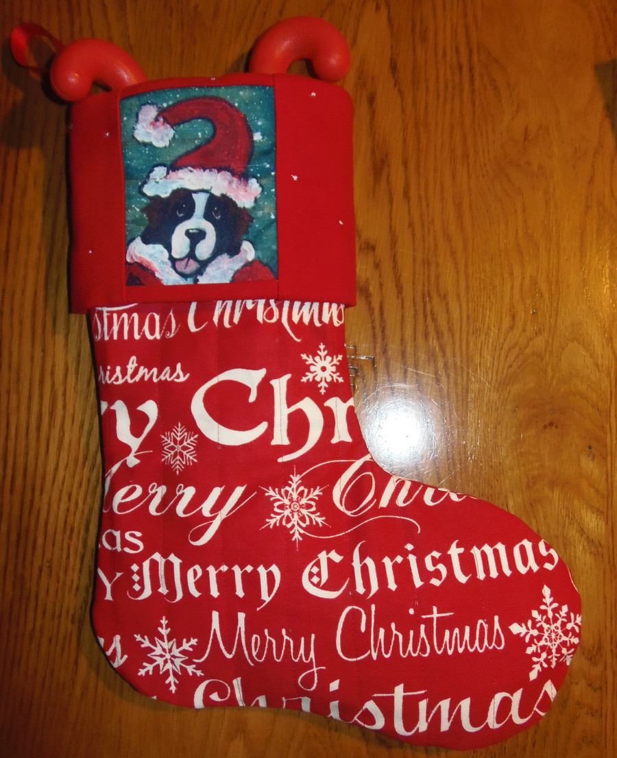 """Saint Bernard in Santa Suit""    Saint Bernard    Large Christmas Stocking By Dawn Johnson"