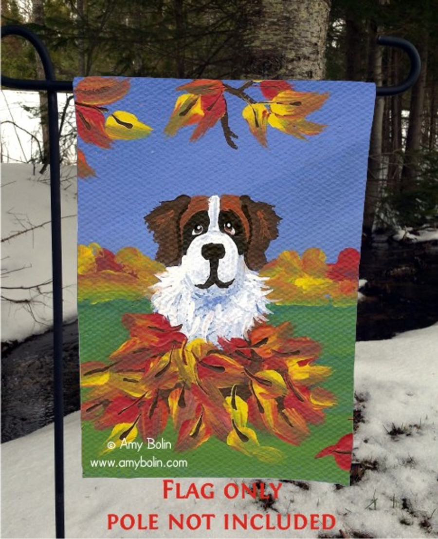 GARDEN FLAG · AUTUMN'S SIMPLE PLEASURES 3 · SAINT BERNARD · AMY BOLIN