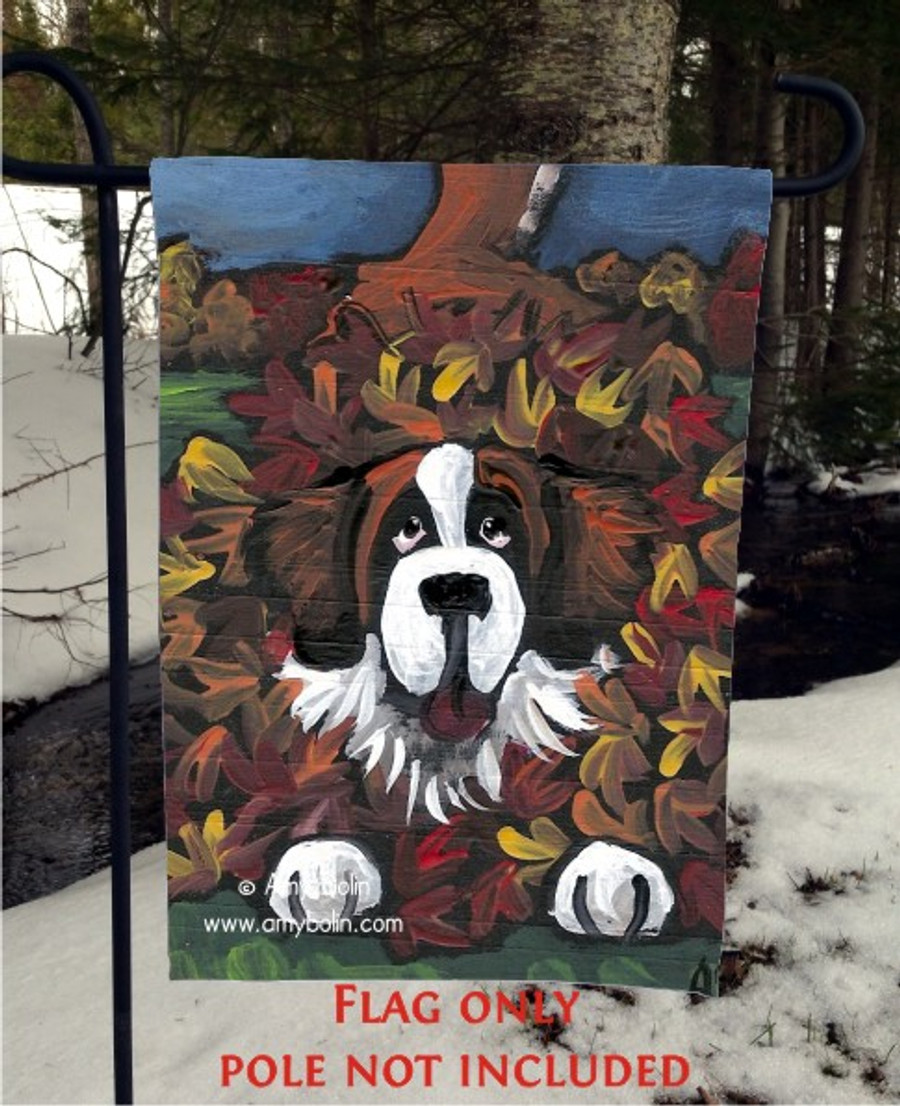 GARDEN FLAG · HAPPINESS IS A PILE OF LEAVES · SAINT BERNARD · AMY BOLIN