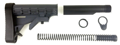 Trinity Force L-E AR15 M4 Collapsible Stock (Grey) & Complete Mil Spec Buffer Tube Kit