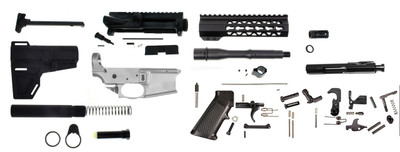 "Davidson Defense DIY Complete AR-15 Pistol Kit 80% Noreen Lower 7.5"" Barrel 5.56/.223 7"" Light Keymod Handguard & BCG"