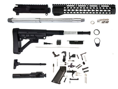 "Aero Precision AR-15 Complete Builders Rifle Kit W/ 16"" .223 WYLDE Stainless Fluted Hbar 1:8 Twist Match 416R Stainless Barrel & 12"" Slim Keymod Handguard"