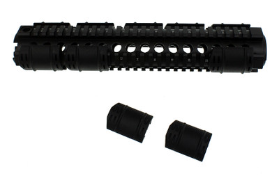 "Omega Mfg. 12"" AR-15 2 Piece Drop in Quad Rail Handguard W/ 10 Rail covers"