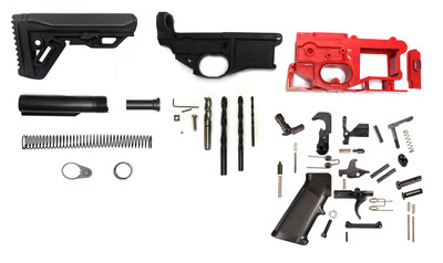Polymer 80% Ar-15 Complete Lower Receiver Kit (Includes Lower Parts Kit & Jig, Mill BIt's Lower Parts Kit & Cobra Stock !