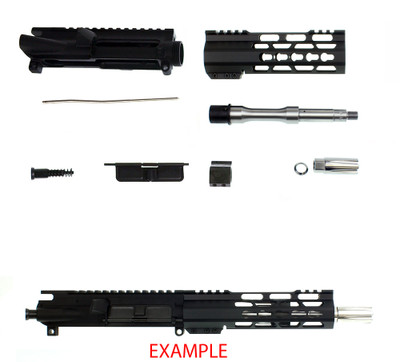 "Davidson Defense ""Fusion"" Ar-15 DIY Deluxe Pistol Upper Kit 7.5"" 5.56 NATO Stainless Steel 1:7 T Barrel 7"" Super Slim Lite Keymod Handguard & Stainless Steel Linear Muzzle Brake"