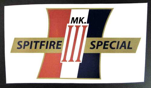 "SPITFIRE MK III SPECIAL CUSTOM SIDE COVER DECAL 5.5"" x 3.25"""