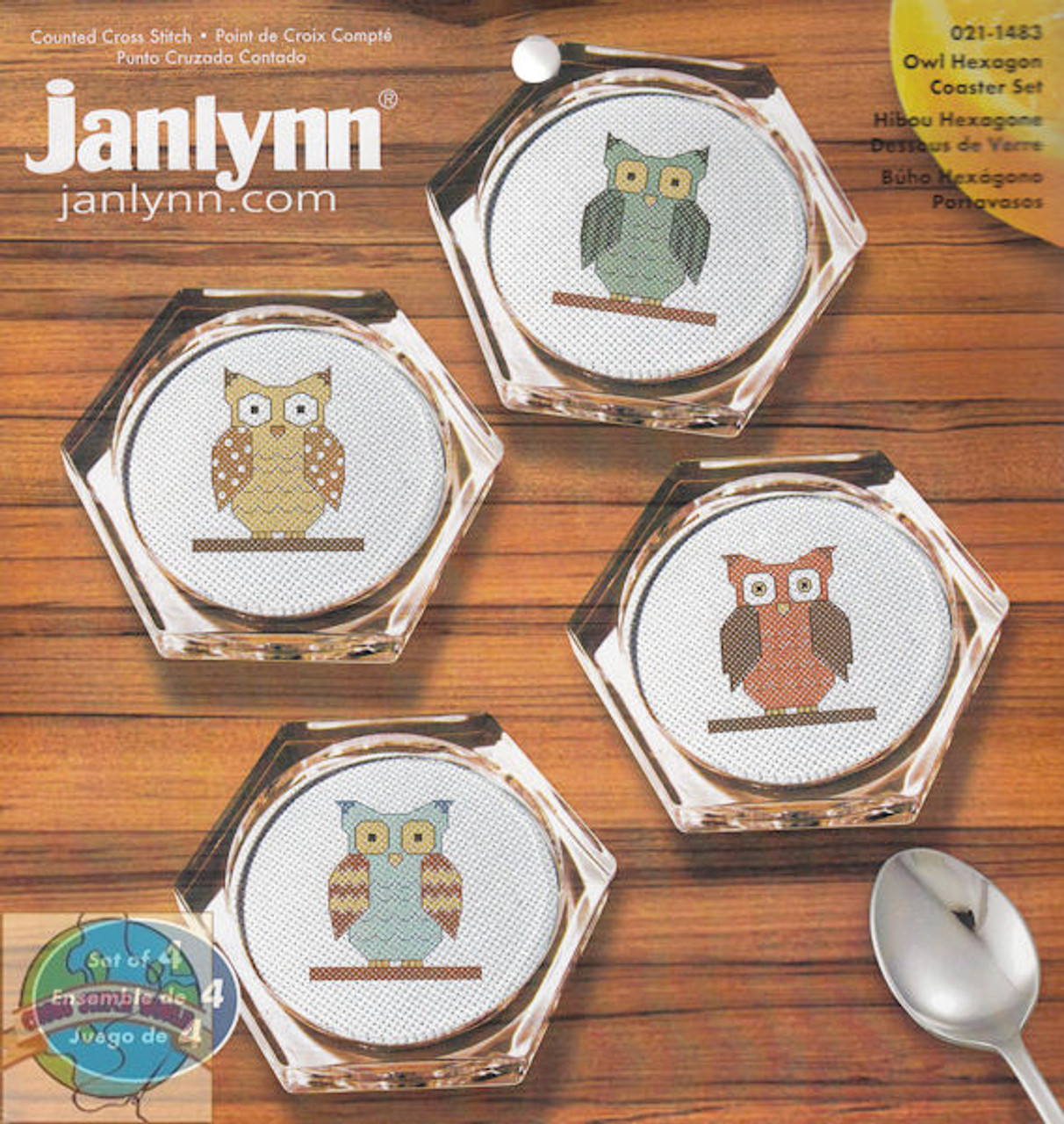 Janlynn - Owl Hexagon Coaster Set (4)