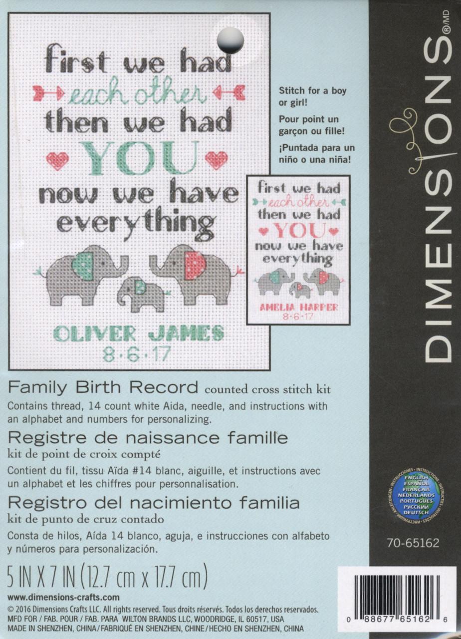 Dimensions - Family Birth Record