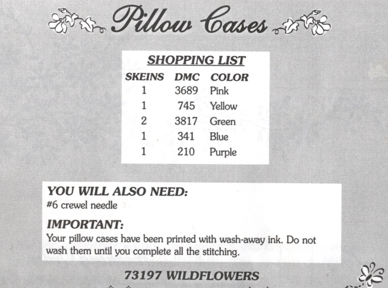 Dimensions - Wildflower Pillow Cases