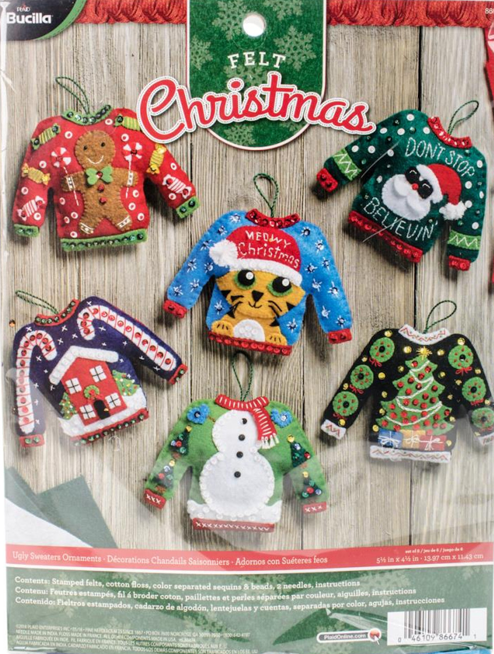 Plaid / Bucilla - Ugly Sweater Ornaments