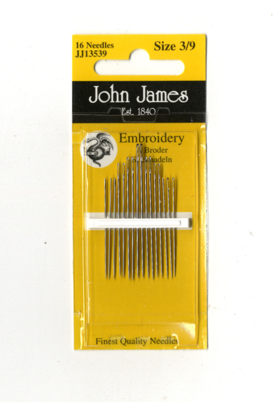 16 John James Size 3/9 Embroidery Hand Needles