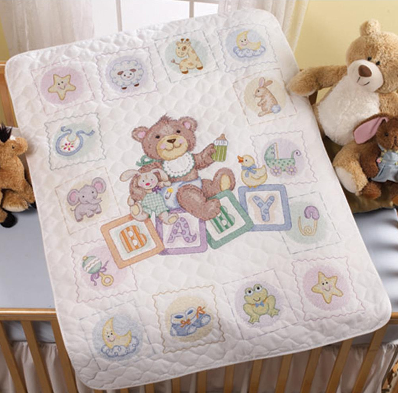 Plaid / Bucilla - Baby Blocks Crib Cover