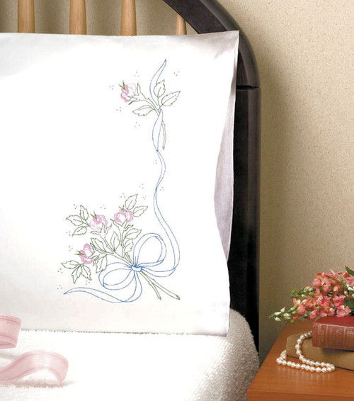 Design Works - Ribbon Rose Pillowcase Pair