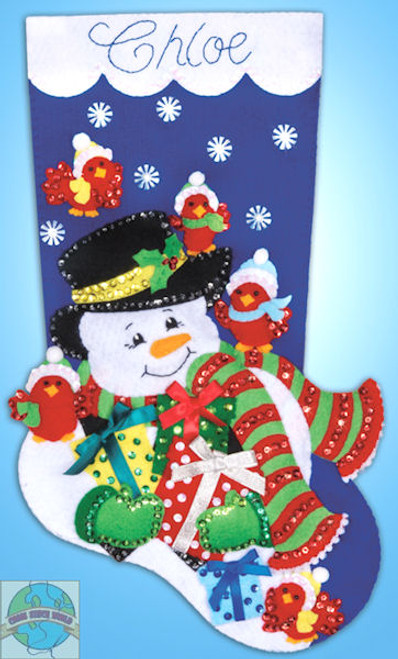 Design Works - Snowman and Cardinals Stocking
