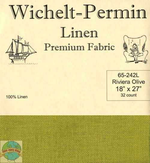 Wichelt - 32 Ct Riviera Olive Linen 18 x 27 in