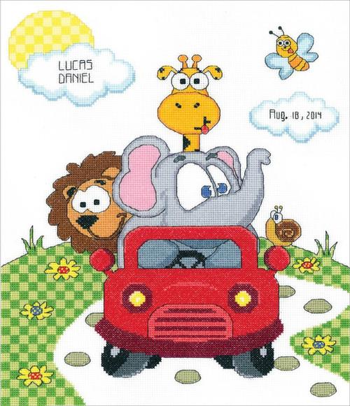 Janlynn - Animal Fun Ride Birth Announcement