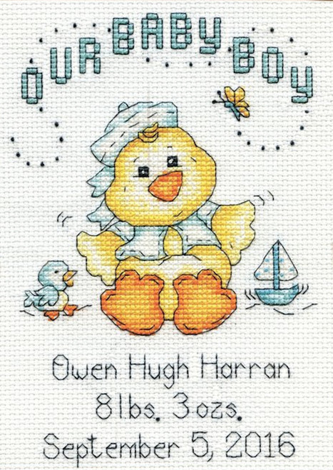 Design Works - Baby Chick Boy Birth Record
