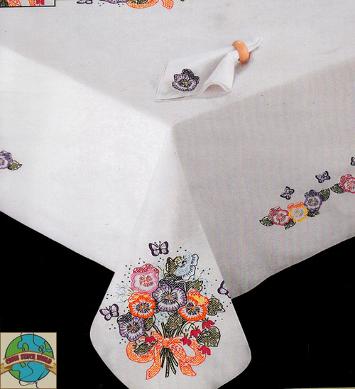 Design Works - Pansies 50in x 70in Tablecloth