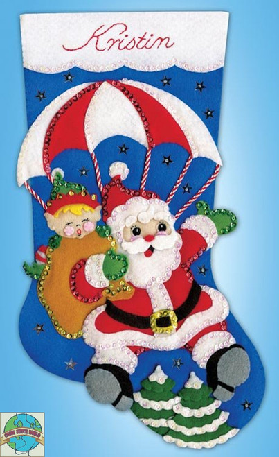 Design Works - Skydiving Santa Stocking