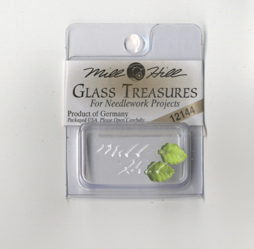 Mill Hill Glass Treasures - Medium Leaf Matte Olive