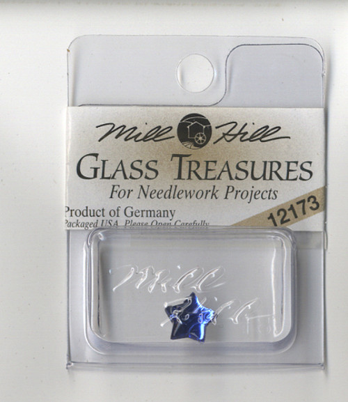 Mill Hill Glass Treasures - Small Flat Star Royal Blue