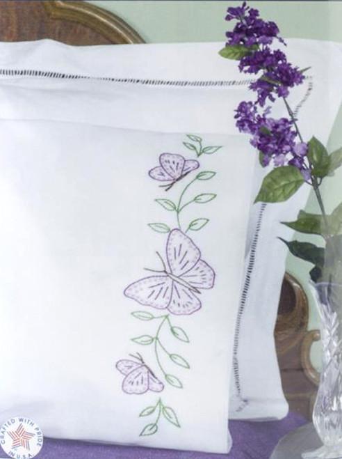 Jack Dempsey Needle Art - Butterflies Pillowcase Set (2)