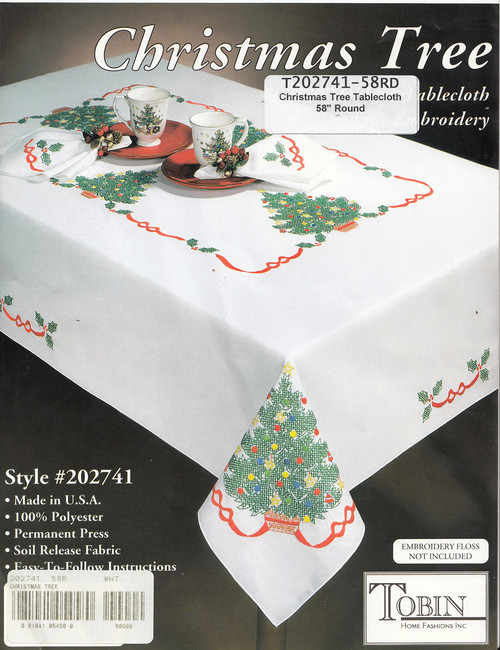 Design Works - Christmas Tree 58in Round Tablecloth