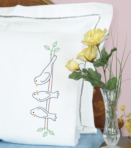 Jack Dempsey Needle Art - Birds on a Branch Pillowcase Set (2)