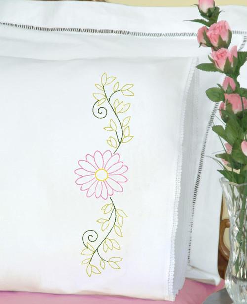 Jack Dempsey Needle Art - Daisy Pillowcase Set (2)