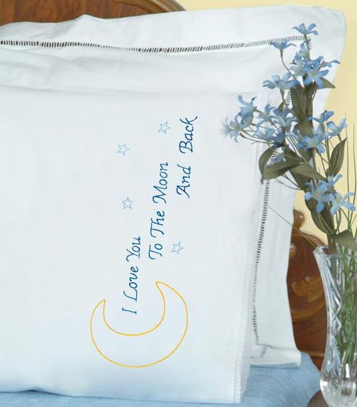 Jack Dempsey Needle Art - Love You to the Moon Pillowcase Set (2)