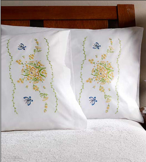 Plaid / Bucilla - Daffodil Pillowcases (2)