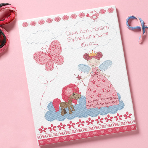Plaid / Bucilla - Fairytale Princess Birth Record