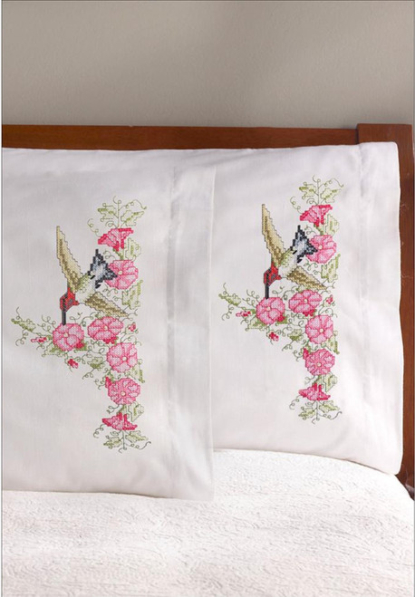 Plaid / Bucilla - Hummingbird Floral Pillowcases (2)