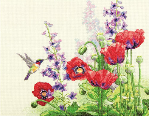 Dimensions - Hummingbird & Poppies