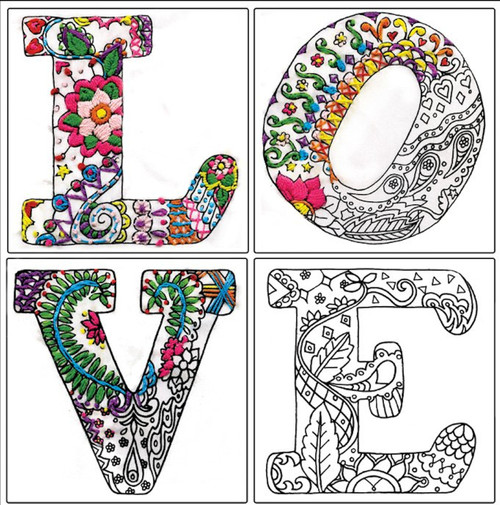 "Design Works - Zenbroidery Love 12"" x 12"""